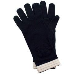 Chanel Navy/Ivory Cashmere CC Knit Gloves - Size M