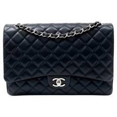 Chanel Navy Lambskin Maxi Double Flap Bag
