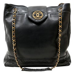 Chanel Navy Lambskin Vintage Large Tote