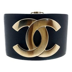 Chanel Navy Leather Brushed Gold Logo Cuff Bracelet 2017