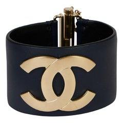 Chanel Navy Leather CC Cuff Bracelet