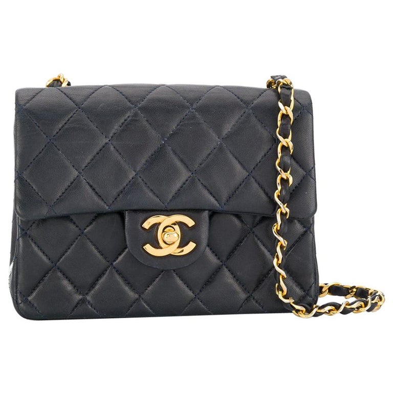 Chanel Navy Leather Crossbody Bag For Sale