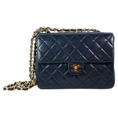 Chanel Navy Leather Quilted Crossbody Bag
