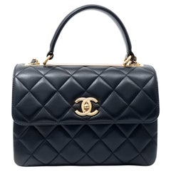 Chanel Navy Leather Top Handle Bag