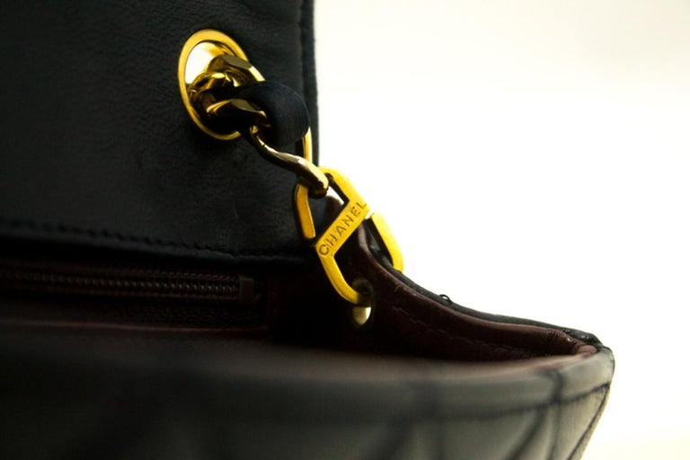 0a6ca9156683 CHANEL Navy Mini Square Small Chain Shoulder Crossbody Bag Purse For Sale 9
