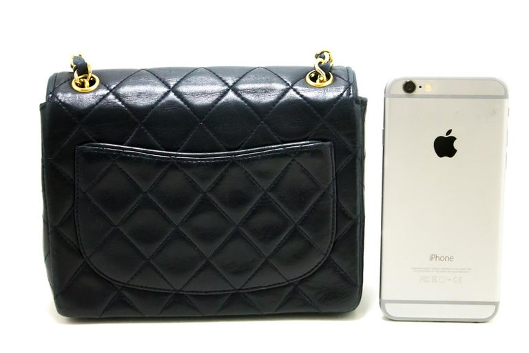 8c4bf55b20ee Black CHANEL Navy Mini Square Small Chain Shoulder Crossbody Bag Purse For  Sale