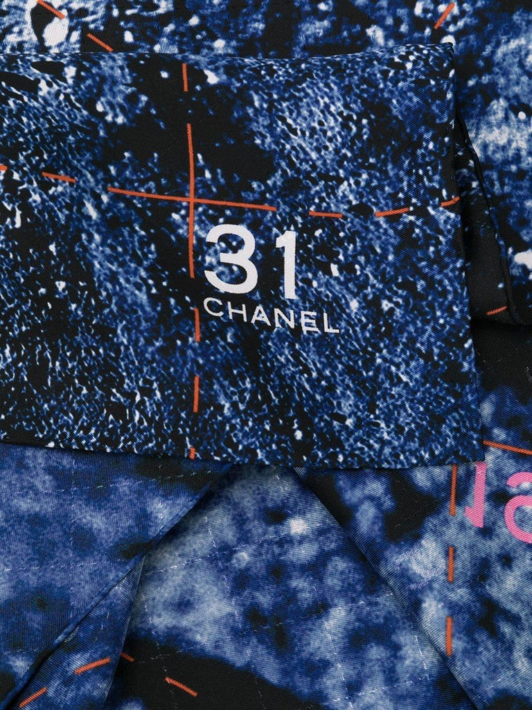 Chanel Navy Moon Footstep Scarf In Excellent Condition For Sale In London, GB