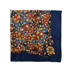 Chanel Navy & Multicolor Jewelry Print Scarf
