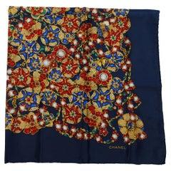 Chanel Navy & Multicolor Silk Jewelry Print Scarf
