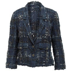 Chanel Navy & Multicolor Spring 2006 Tweed Blazer