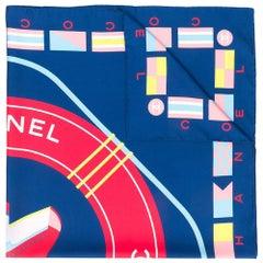 Chanel Navy & Pale Blue 'Cruise' Silk Scarf
