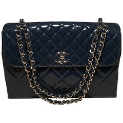 Chanel Navy Patent Leather Jumbo Classic Flap Shoulder Bag