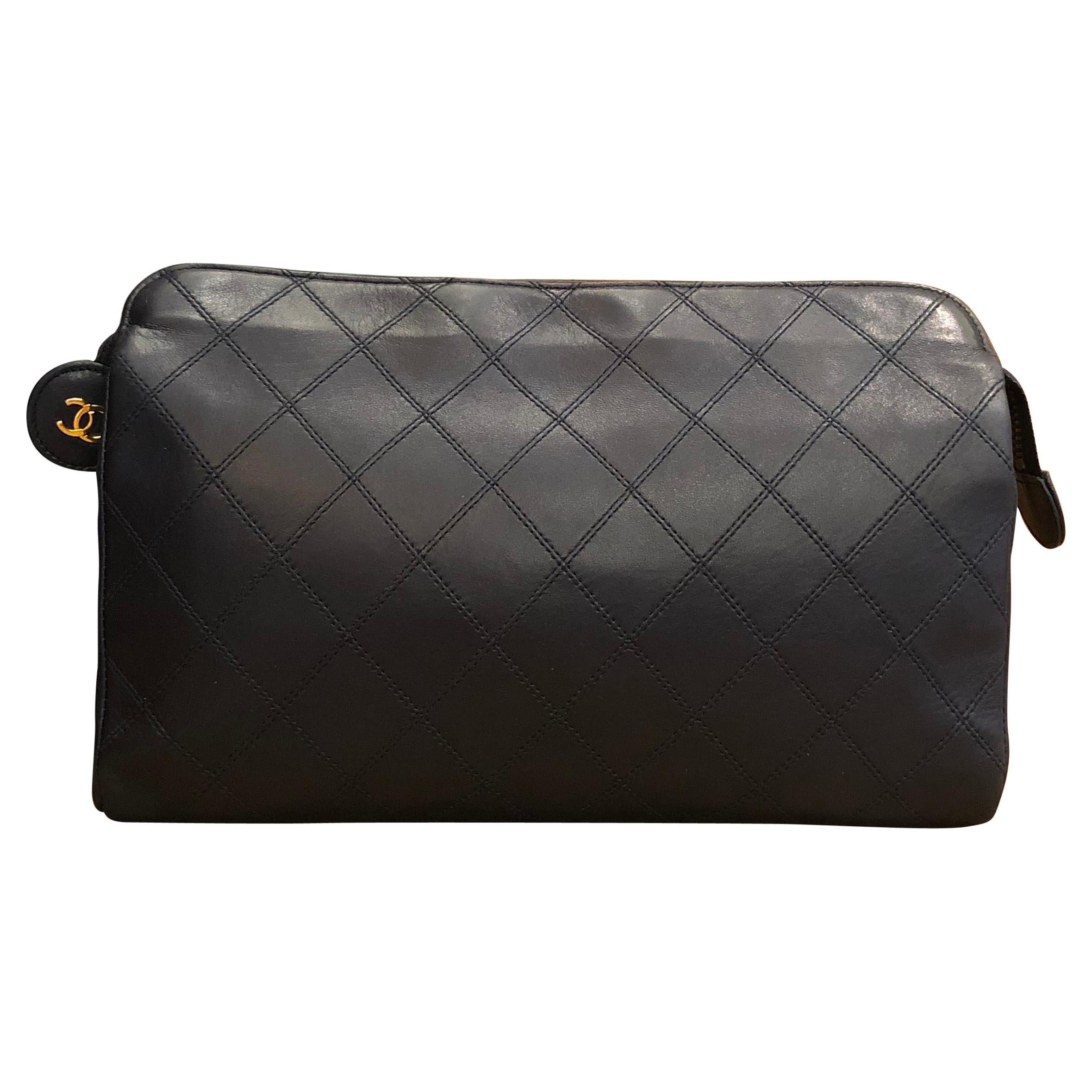 CHANEL Navy Quilted Lambskin Leather Clutch Bag
