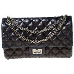 Chanel Navy Quilted Striped Leather Triple Reissue 2.55 Classic 225 Flap Bag