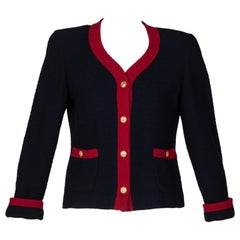 Chanel Navy & Red Boucle Jacket w/ Gold CC Buttons, 1980s
