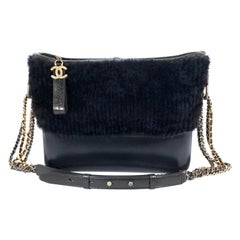 Chanel Navy Shearling Fur and Leather Gabrielle Bag
