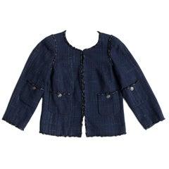 Chanel Navy Tweed Collarless Jacket