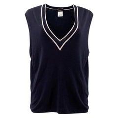 Chanel Navy Uniform Knit Vest - Size US 12