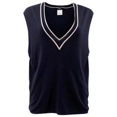 Chanel Navy Uniform Knit Vest XL