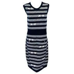 Chanel Navy & White Cashmere Sleeveless Intarsia Chain Link Pattern Dress