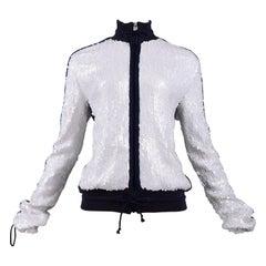 Chanel Navy & White Sequin Zip Up Jacket