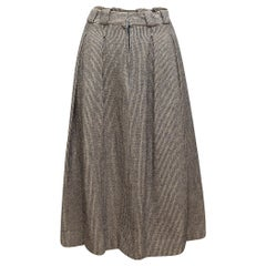 Chanel Navy & White Tweed Pleated Skirt