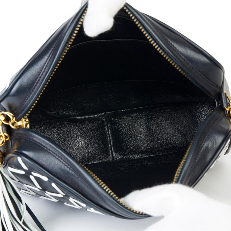 Chanel Navy & White Woven-Stitched Lambskin Vintage Timeless Fringe Camera Bag For Sale 6
