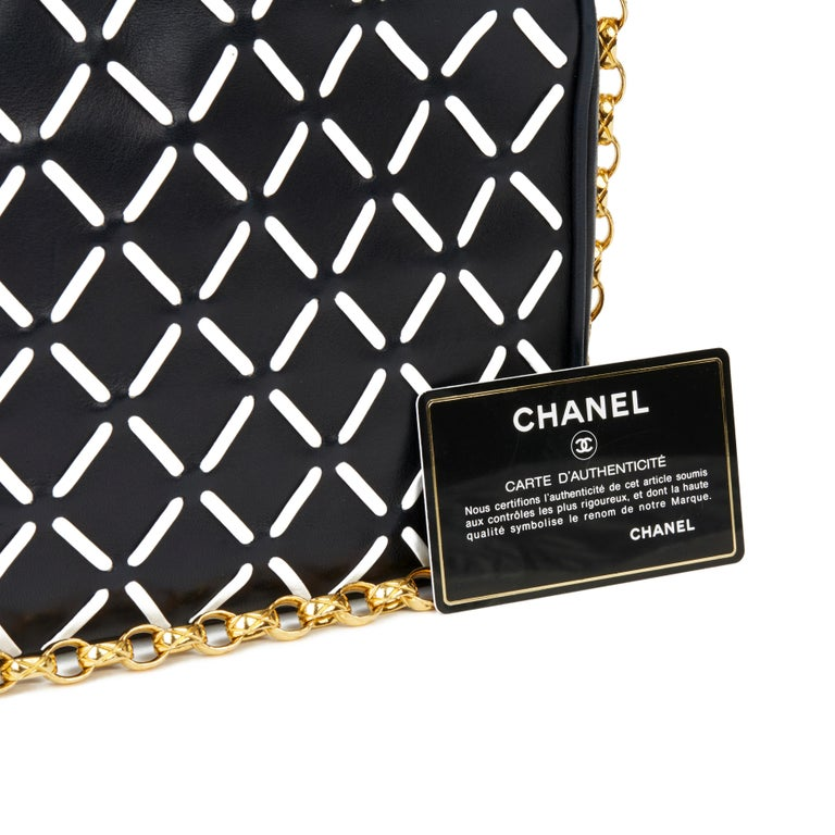 Chanel Navy & White Woven-Stitched Lambskin Vintage Timeless Fringe Camera Bag For Sale 7