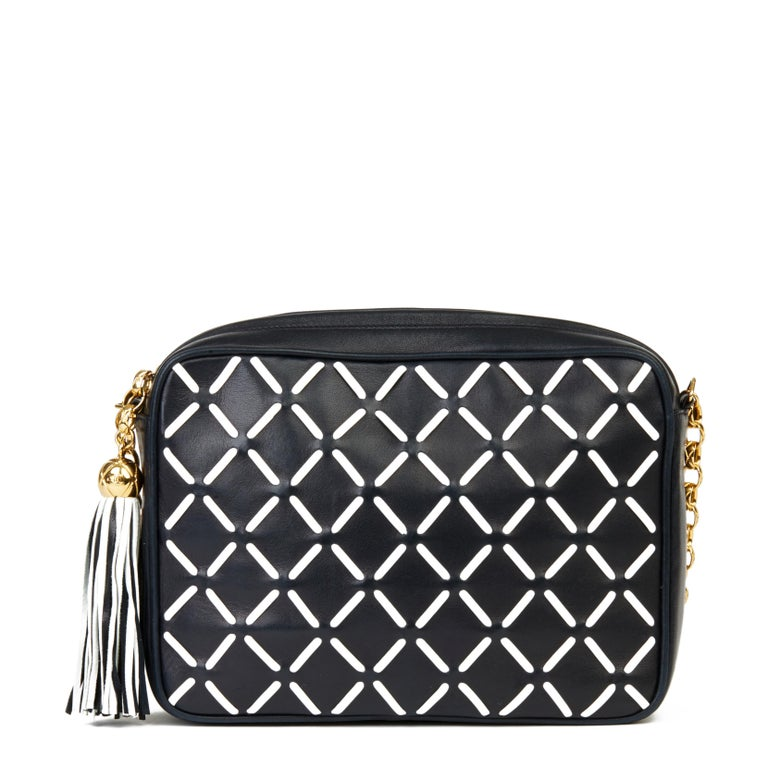 Women's Chanel Navy & White Woven-Stitched Lambskin Vintage Timeless Fringe Camera Bag For Sale