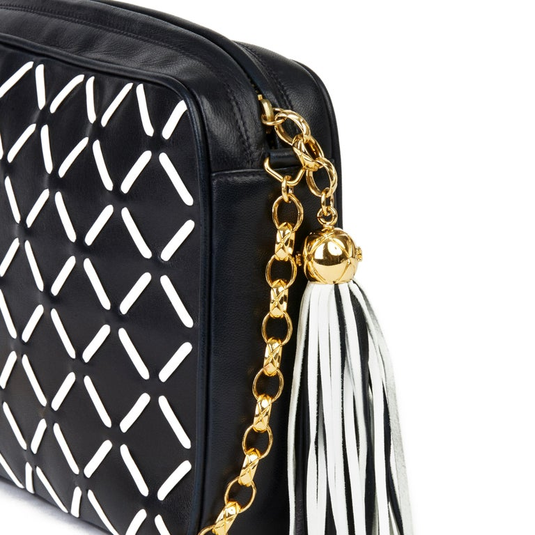 Chanel Navy & White Woven-Stitched Lambskin Vintage Timeless Fringe Camera Bag For Sale 2