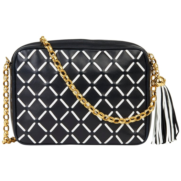 Chanel Navy & White Woven-Stitched Lambskin Vintage Timeless Fringe Camera Bag For Sale