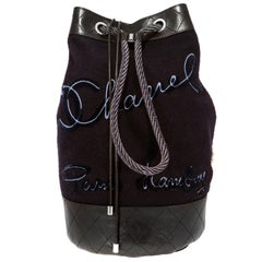 Chanel Navy Wool and Leather Paris Hamburg Sling Backpack