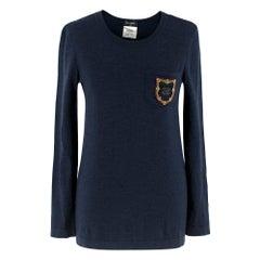 Chanel Navy Wool Jumper W/ CC Badge XS 34 FF