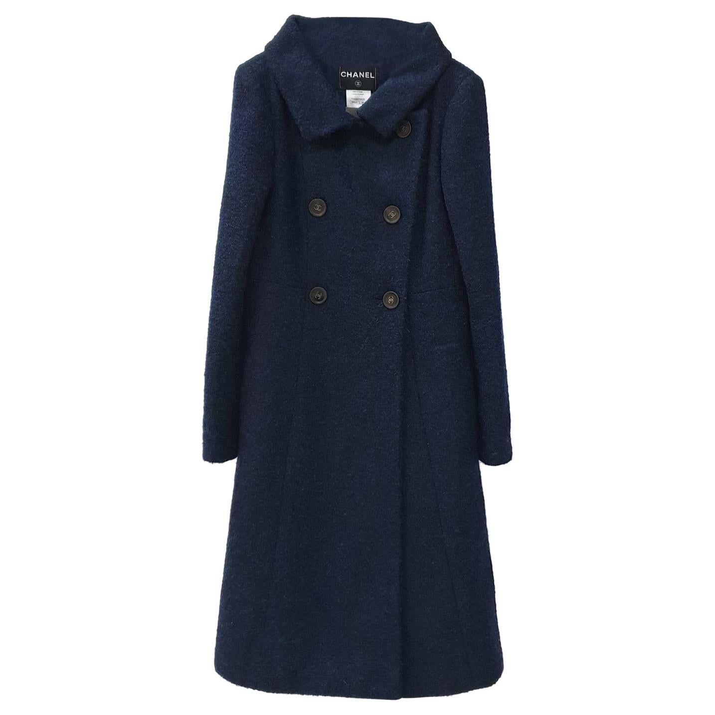 Chanel Navy Wool Long Length CC Buttons Coat