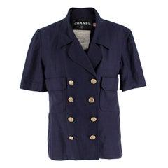 Chanel Navy Wool Short Sleeve Jacket 36 (FR)