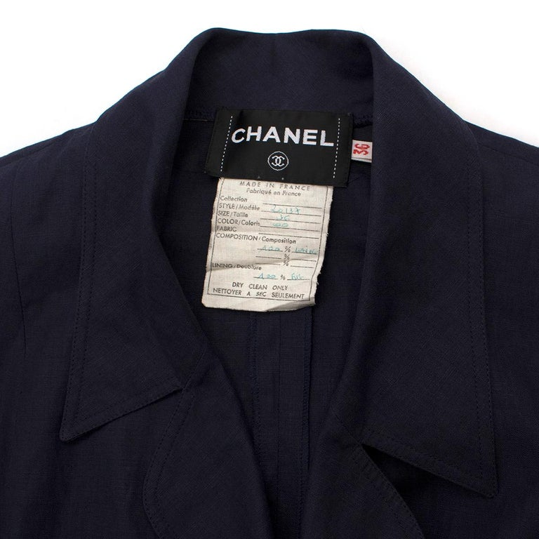 Black Chanel Navy Wool Short Sleeve Jacket - Size US 4 For Sale