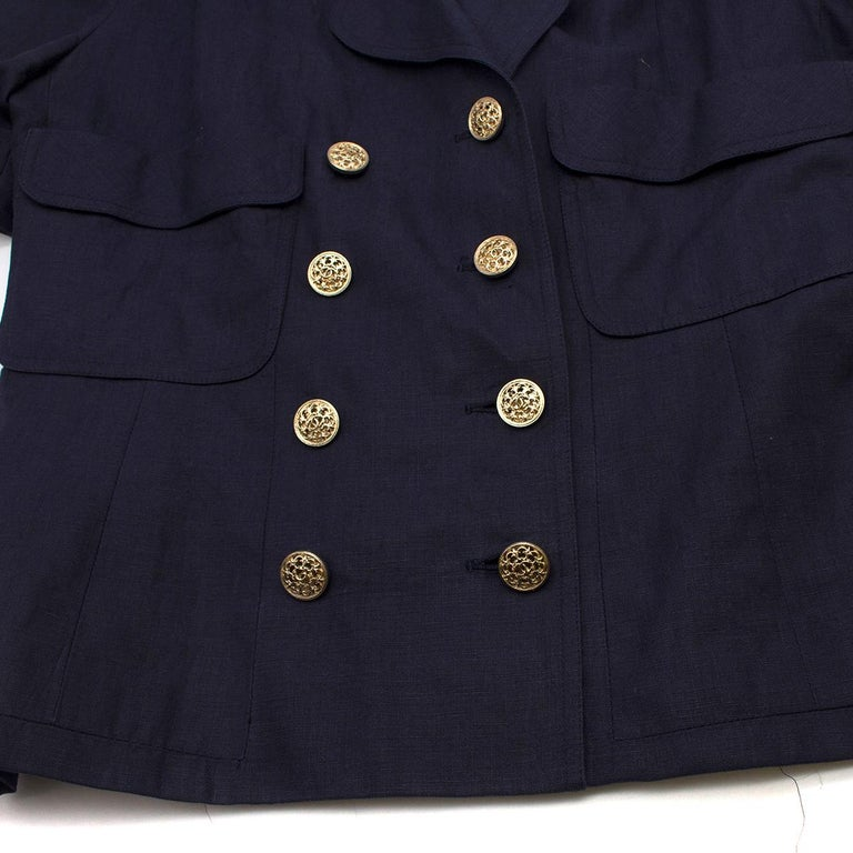 Chanel Navy Wool Short Sleeve Jacket - Size US 4 In Excellent Condition For Sale In London, GB