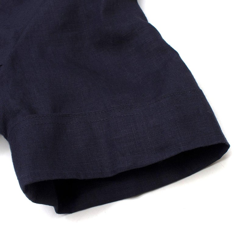 Women's Chanel Navy Wool Short Sleeve Jacket - Size US 4 For Sale