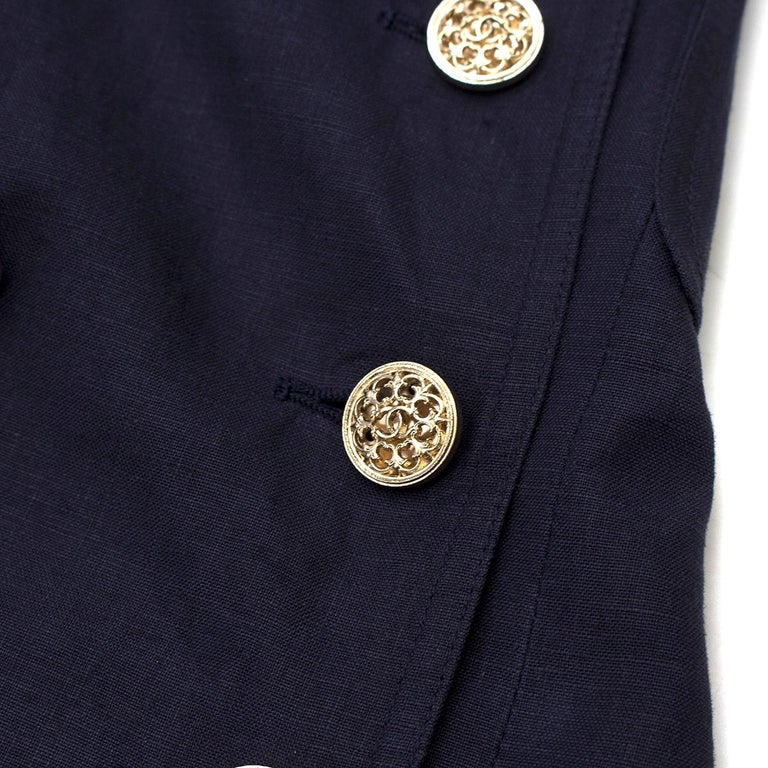 Chanel Navy Wool Short Sleeve Jacket - Size US 4 For Sale 1