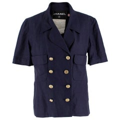 Chanel Navy Wool Short Sleeve Jacket - Size US 4