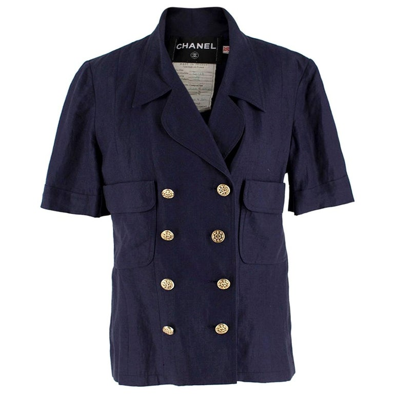Chanel Navy Wool Short Sleeve Jacket - Size US 4 For Sale