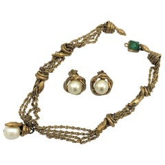 Chanel necklace with ear clips signed with 3 stars *** from 1960