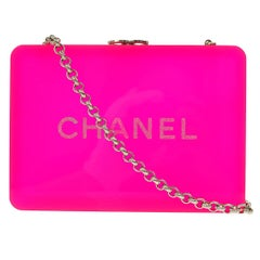 Chanel Neon Pink Plexi Glitter Crystal Evening Shoulder Flap Clutch Bag in Box