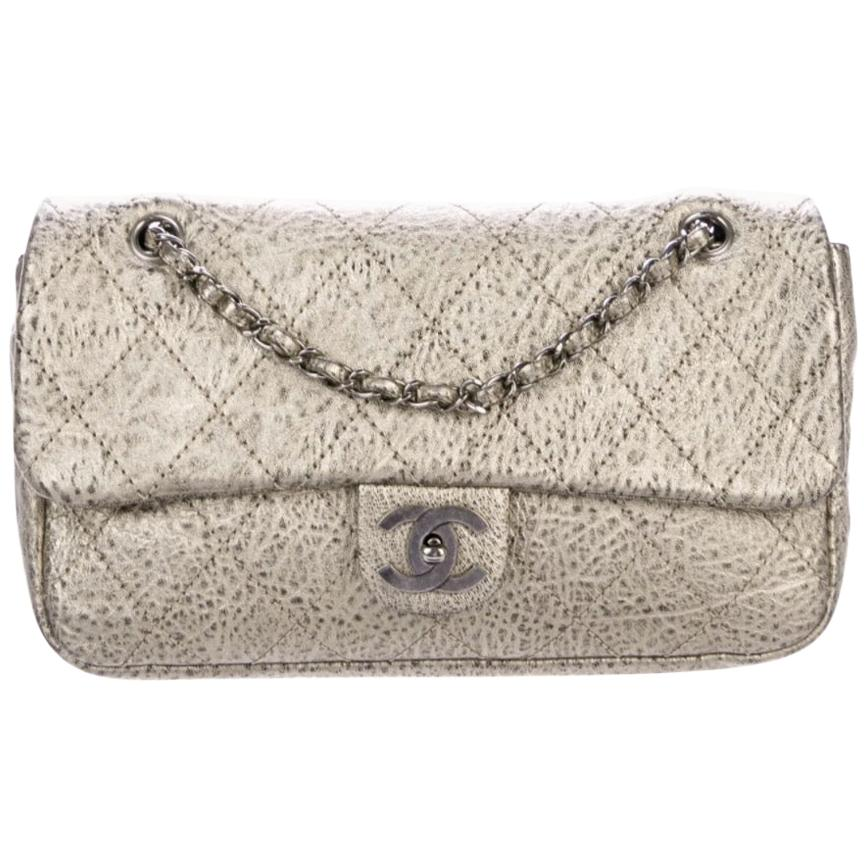 Chanel NEW Antique Gold Leather Silver Gunmetal Evening Shoulder Flap Bag