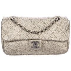 Chanel NEW Antique Gold Leather Silver Gunmetal Evening Shoulder Flap Bag