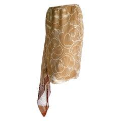 "CHANEL ""New"" Beige and White Foulard on Side Silk Skirt - Unworn"