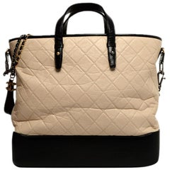 Chanel Beige/Black Calfskin Quilted Large Gabrielle Shopping Tote rt. $5,000