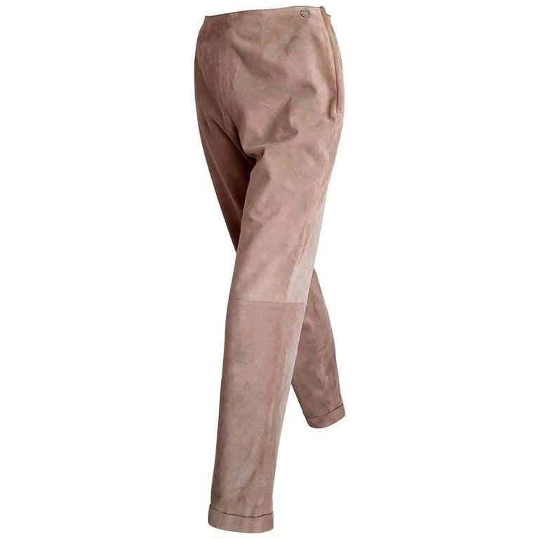 "CHANEL ""New"" Beige Suede Pants Silk Lined - Unworn For Sale"