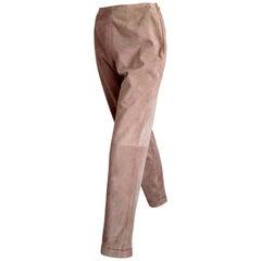"""CHANEL """"New"""" Beige Suede Pants Silk Lined - Unworn"""