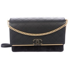 Chanel NEW Black Caviar Leather Gold Chain Logo Evening Shoulder Flap Bag
